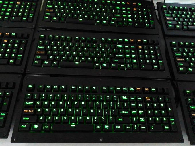Panel Mount Backlight Keyboard Mekanik Cherry Dengan Trackball Logam Mouse 1