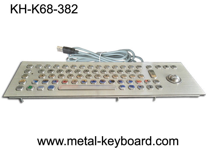 70 Keys Industrial Keyboard with Trackball , Rugged Panel Mount Keyboard