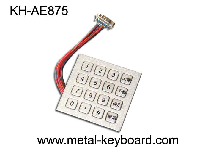 Custom Industrial Metal Kiosk Keyboard / Digital Keypad With 16 Keys