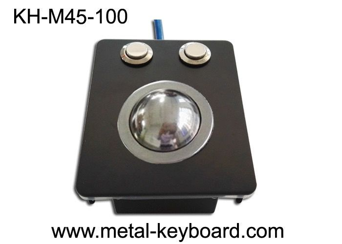 Waterproof Industrial Trackball Mouse Electroplated Black Stainless Steel