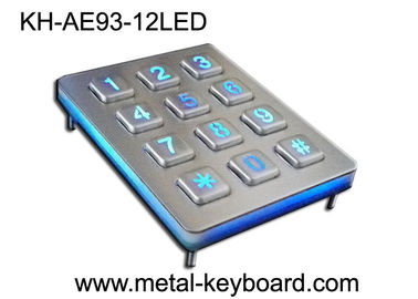 Back light Metal Numeric Keypad dalam Matriks 3x4 12 Tombol, Keypad Stainless Steel