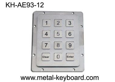 IP65 ruggedized Metal Keypad, 12 Tombol stainless steel keypad Industrial